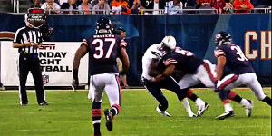 Jon Bostic got fined for dishing out this hard hit on receiver Mike Willie.
