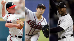 Frank Thomas (right), Greg Maddux (center), and Tom Glavine (left), are three frontrunners to be inducted into the Baseball Hall of Fame.
