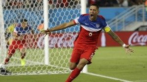 Clint Dempsey celebrates after scoring the first goal for the United States against Ghana on Monday.